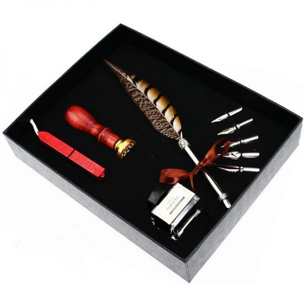 Feather Pen Set with Seal Set 4