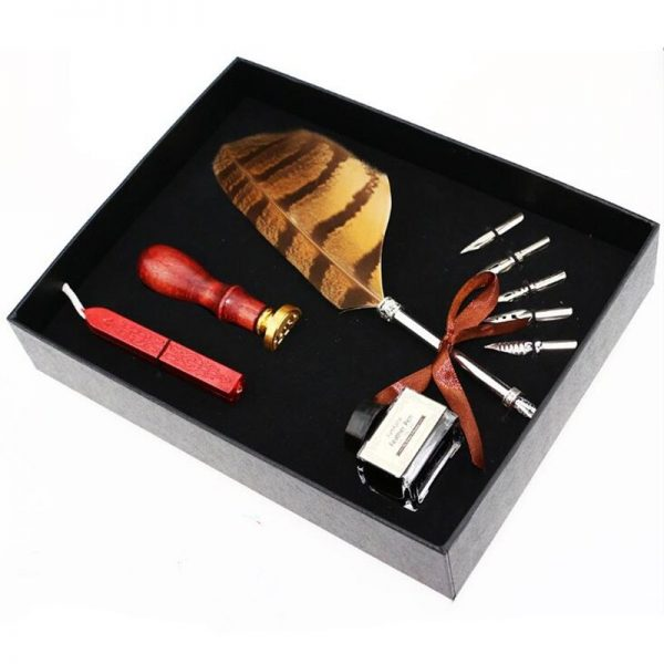 Feather Pen Set with Seal Set 3
