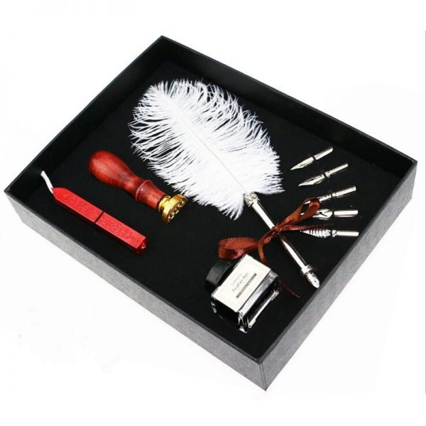 Feather Pen Set with Seal Set