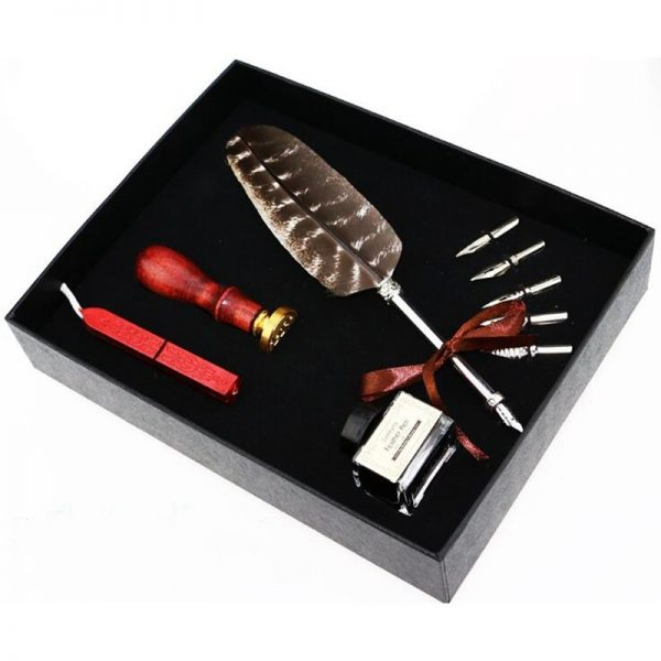 Feather Pen Set with Seal Set 1
